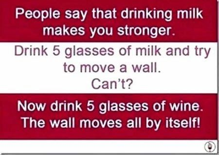 Funny Facebook Status: Drinking Wine Makes You Stronger Funny