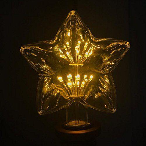 Lustaled led decorative light bulbs star starry shape 1 5w warm white 2200k e27 screw base
