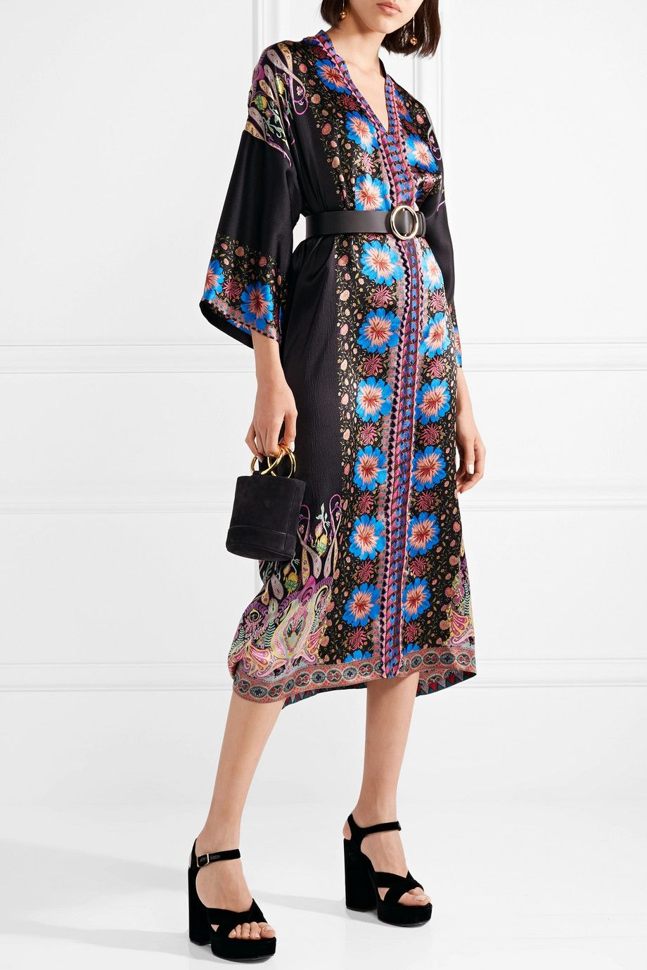 b5fc9ca48e0 Etro - Embroidered printed silk-satin kaftan