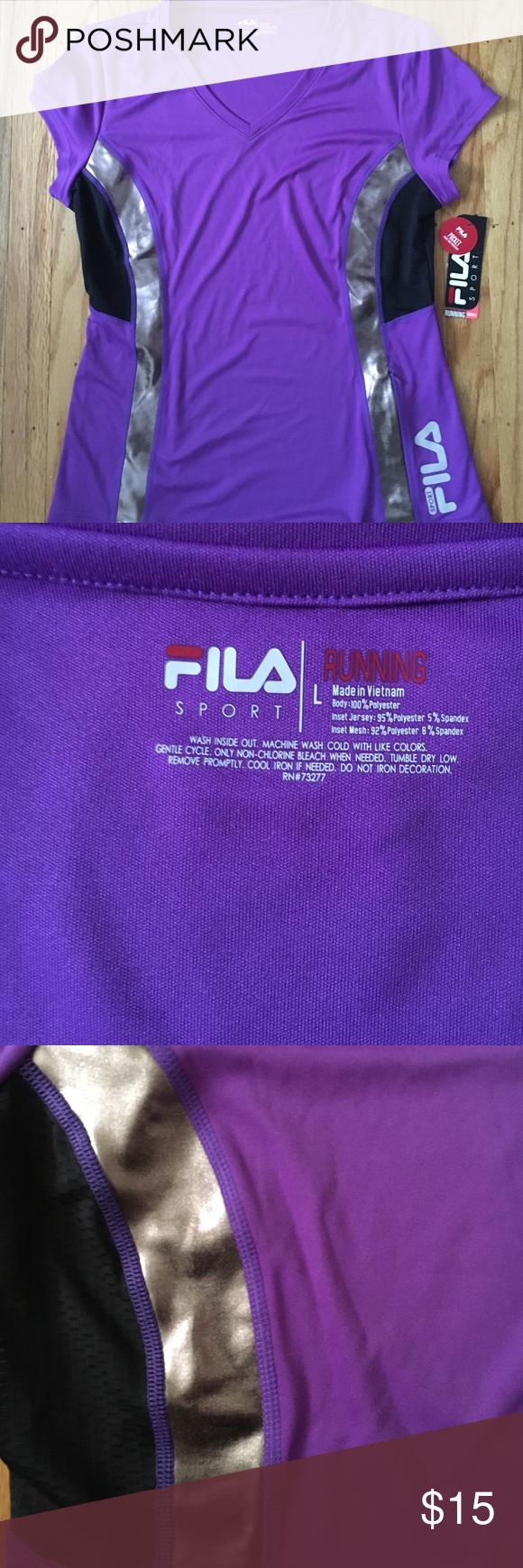 Short sleeve filas running shirt. Size large Purple, silver, and black filas runners short sleeve shirt filas Tops Tees - Short Sleeve