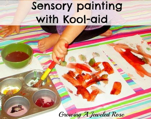 Sensory painting with Kool-aid. Vibrant colors, fun textures, and smells fantastic!