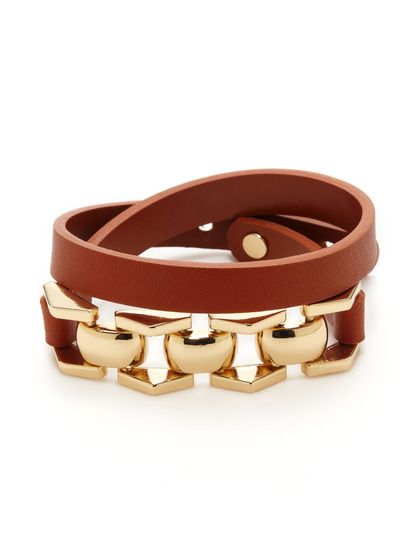 50d5294ab4c0 Gold   Leather Link Bracelet by Cara Couture Jewelry at Gilt