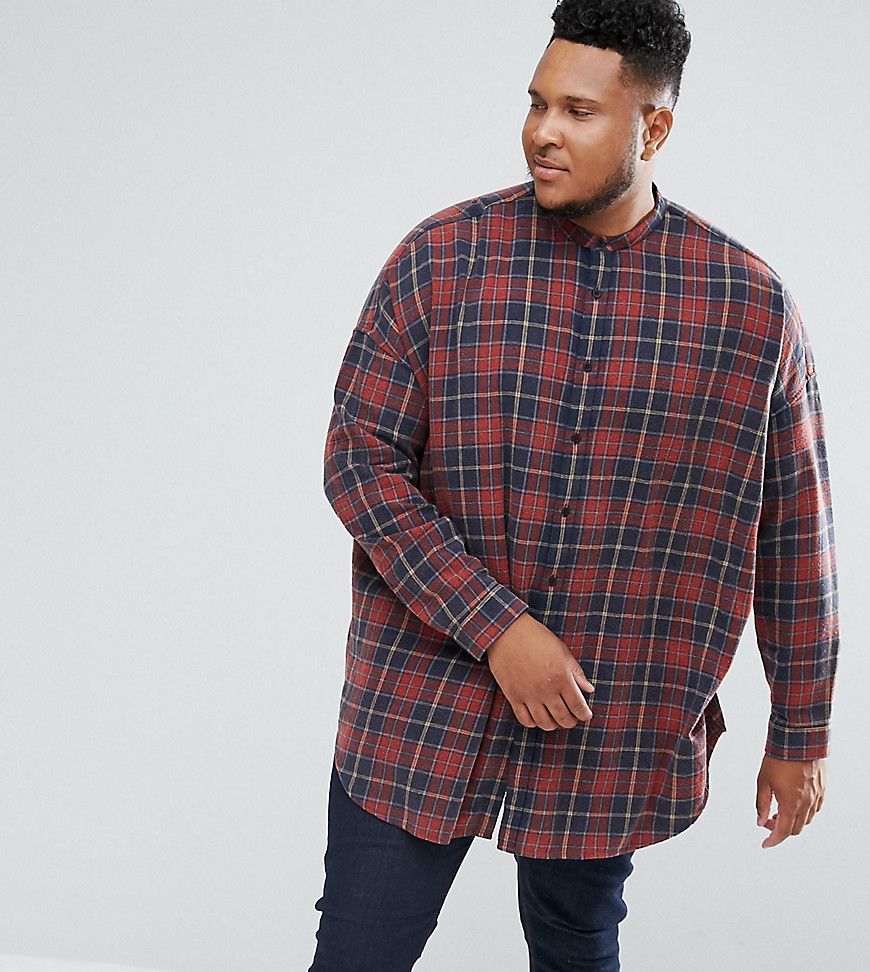 DESIGN oversized check shirt with acid wash - Red Asos Free Shipping Popular Fast Delivery For Sale Cheap Price Cost Fashionable For Sale Cheap Inexpensive BbK1NV