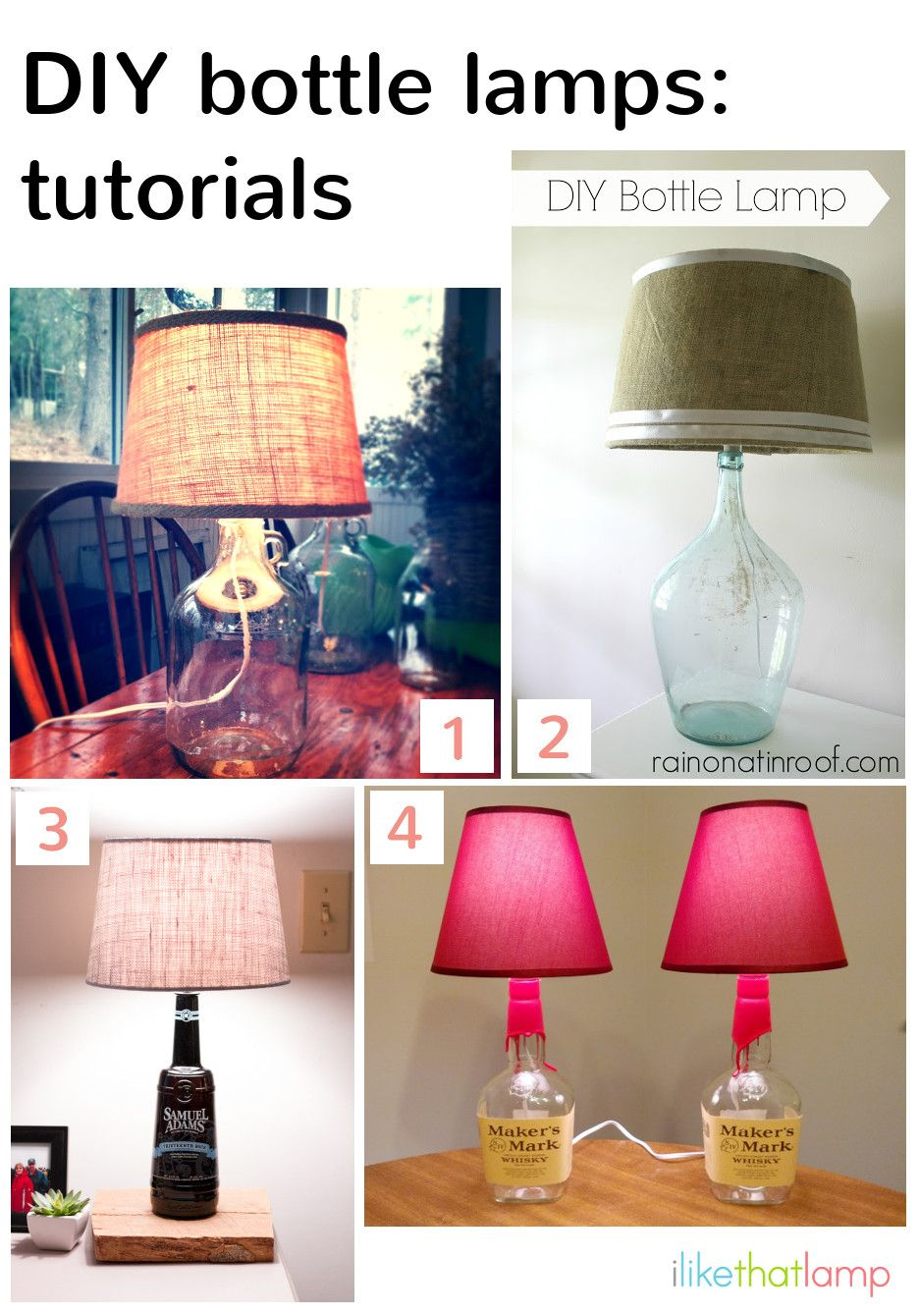 How to Make a Lamp Using a Bottle as a Base Diy bottle