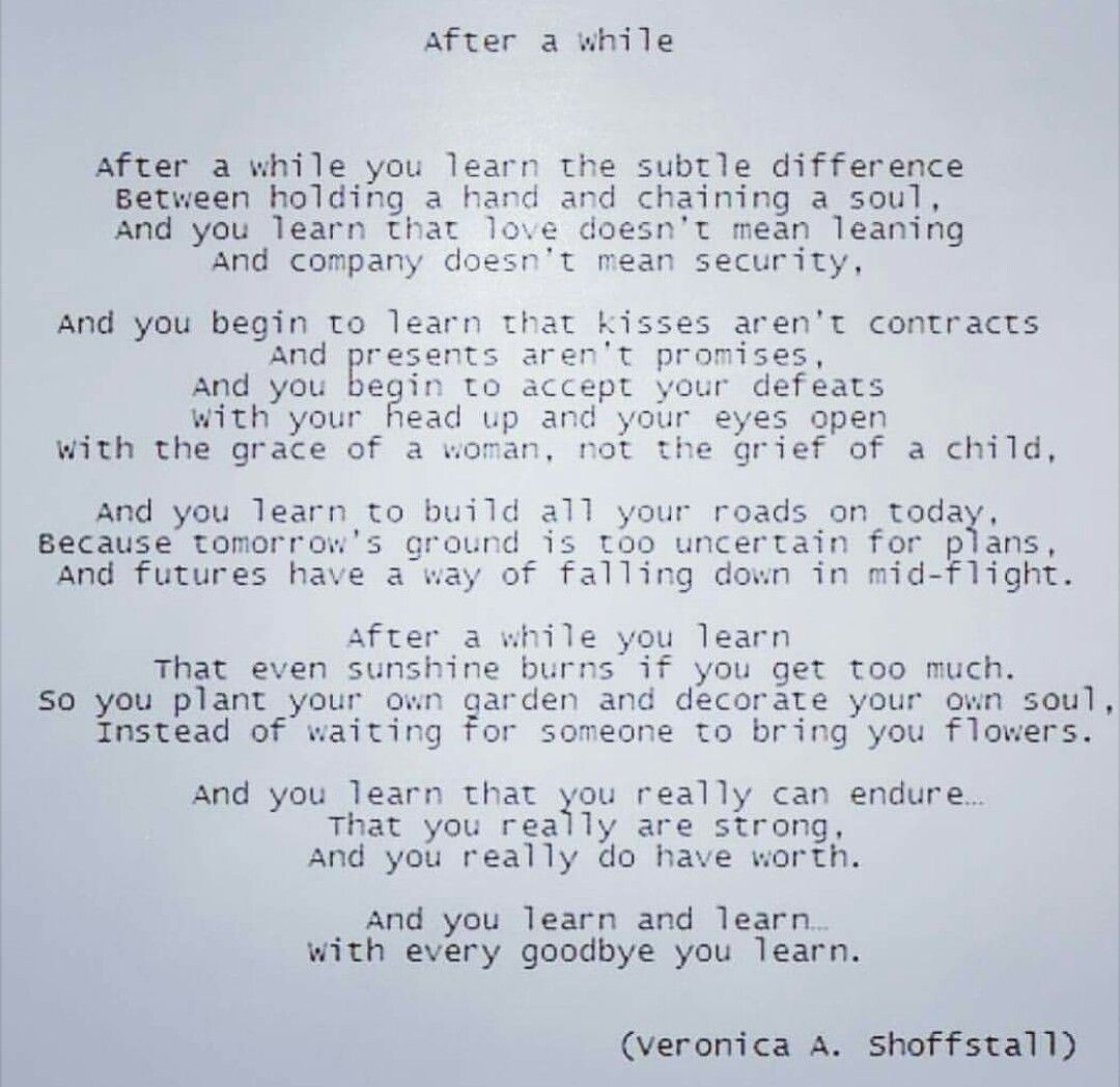 With every goodbye you learn poem