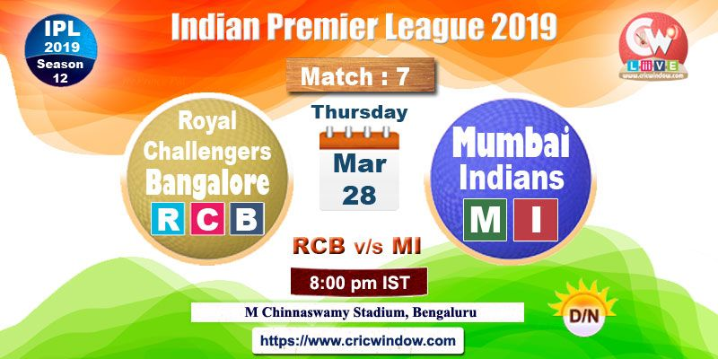 Ipl Rcb Vs Mi Live Action Live Matches India Match Match Score
