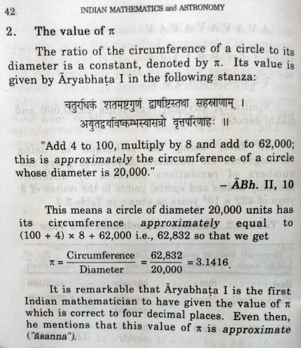 value of pi 3 1416 approx by aryabhatt in a form of sanskrit