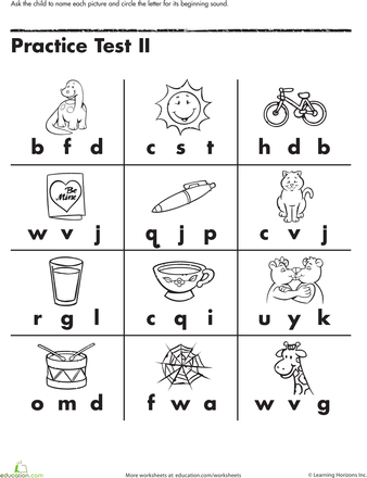 Beginning Letter Sounds Worksheet Education Com Kindergarten Worksheets Free Printables Free Kindergarten Worksheets Letter Worksheets Kindergarten