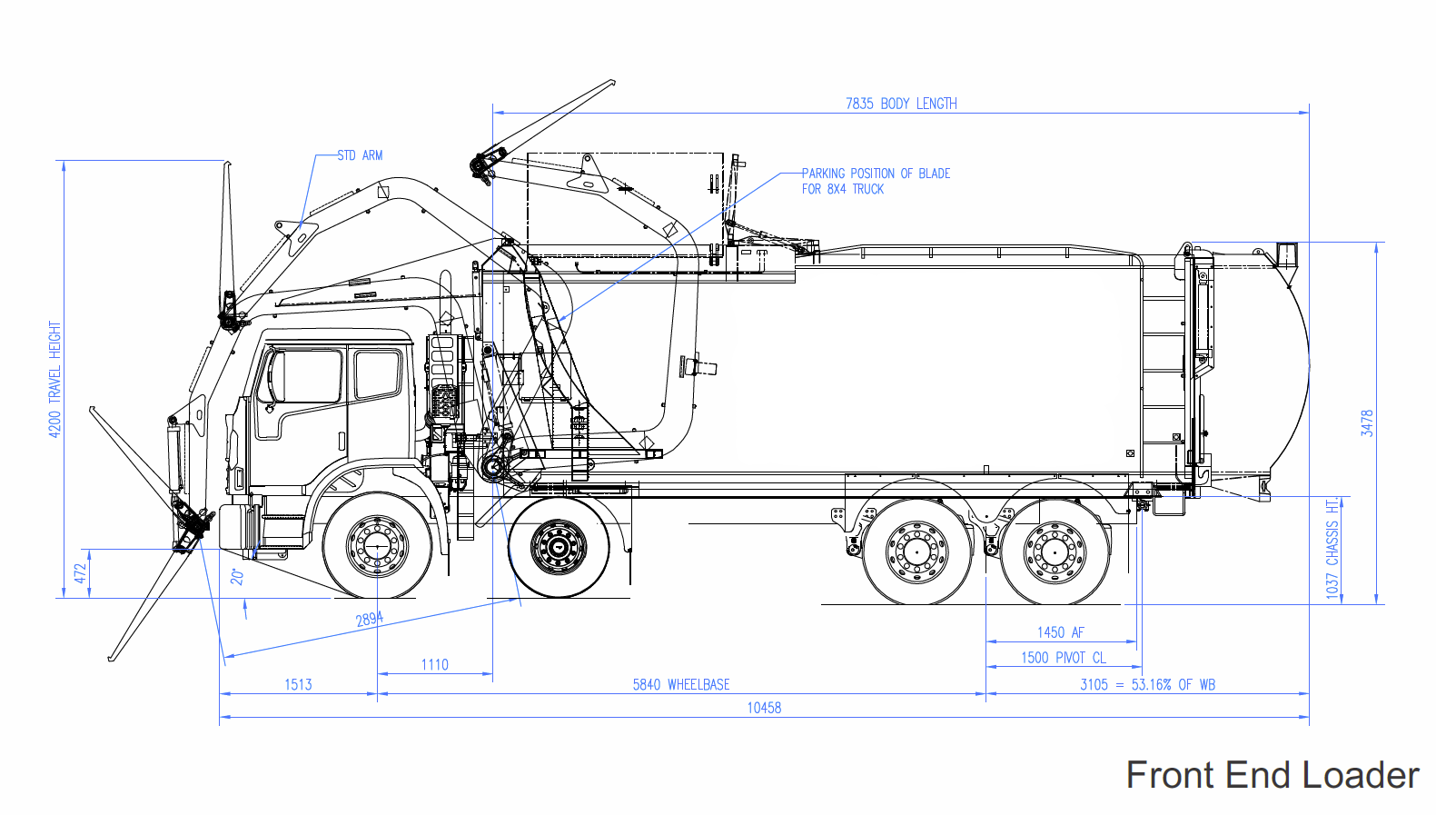 line drawing of front end loader garbage truck garbage truck