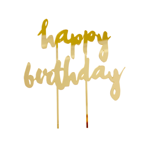 Happy Birthday Gold Mirrored Cake Topper cake toppers Pinterest