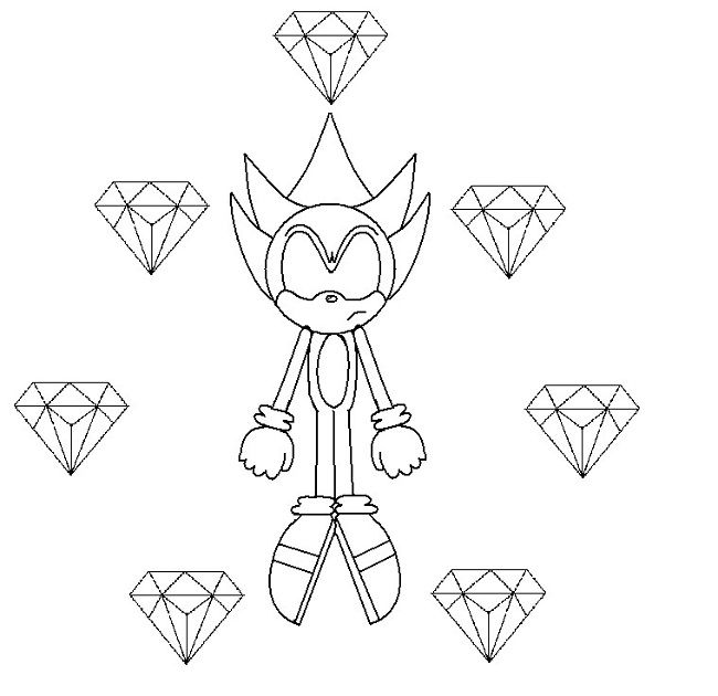 Gold Sonic Coloring Pages