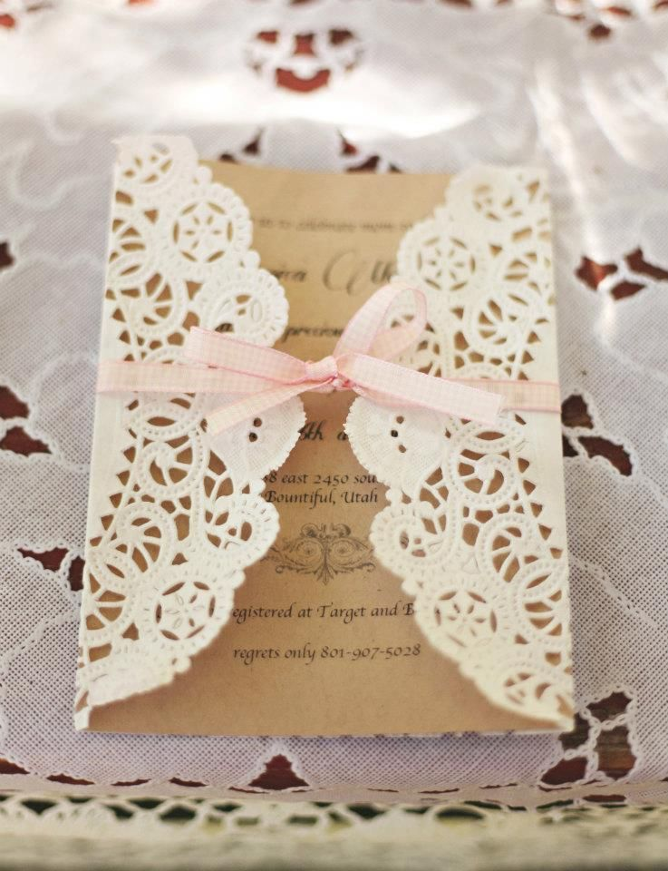 Vintage Babyshower Invitations Very Simple Idea Using Doylies