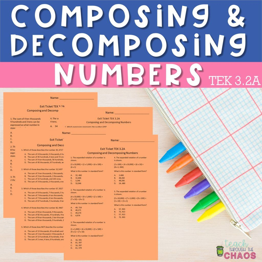 Composing And Decomposing Numbers Activities