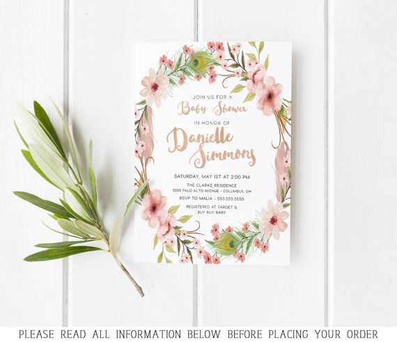 floral baby shower invitations, flowers, feathers, boho, digital, Baby shower invitations