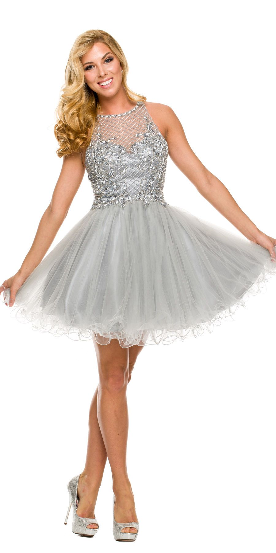 a587bef78d22 Short Poofy Silver Tulle Skirt Homecoming Dress #discountdressshop  #silverdress #homecoming #shortpromdress #poofydress