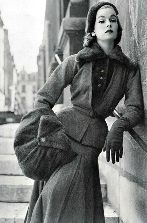 Model In Jacques Fath For Vogue France 1952 Vintage Fashion