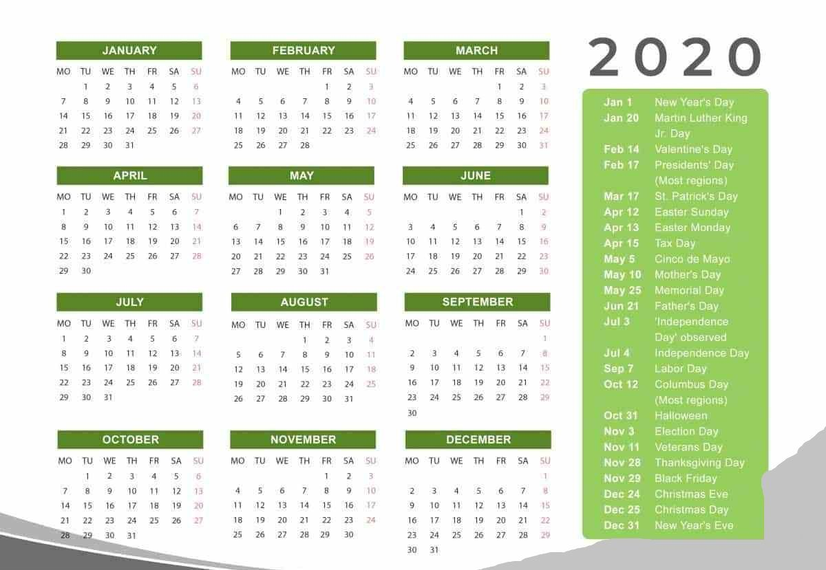Holidays Calendar 2020 Printable Templates Printable Calendar