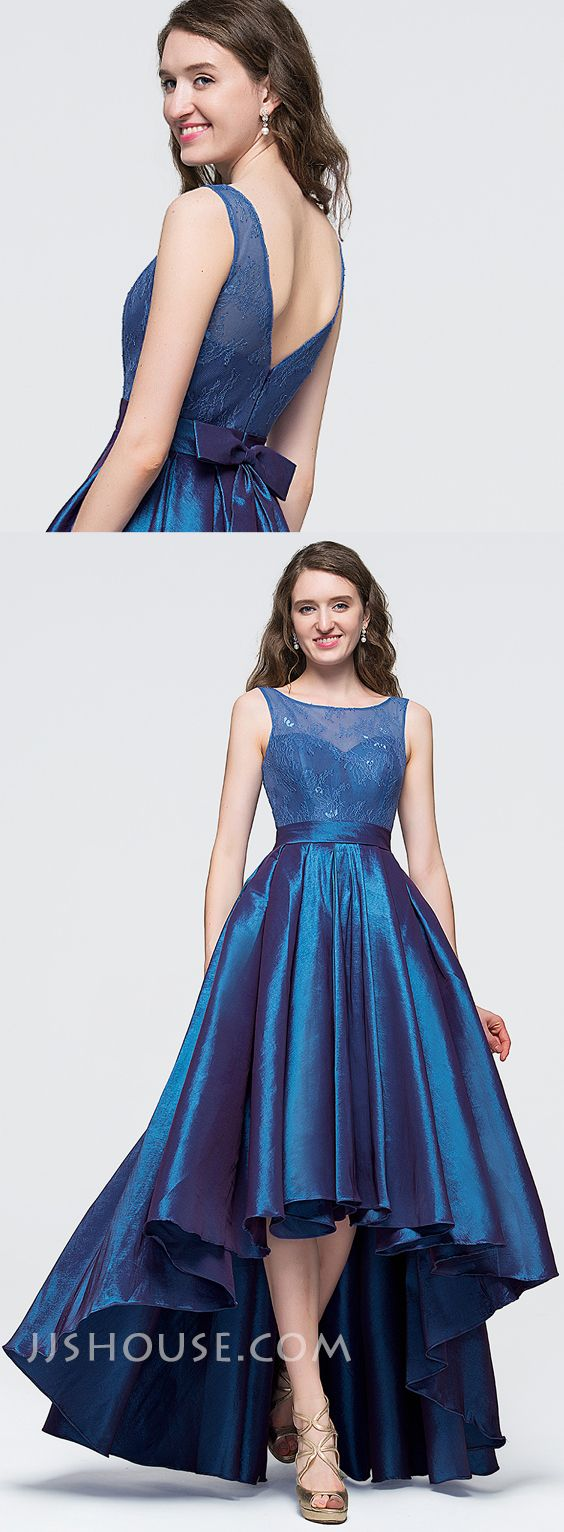 It looks like a Princess, in this A-Line Scoop Neck Asymmetrical Taffeta Prom Dress With Bow. #JJSHOUSE
