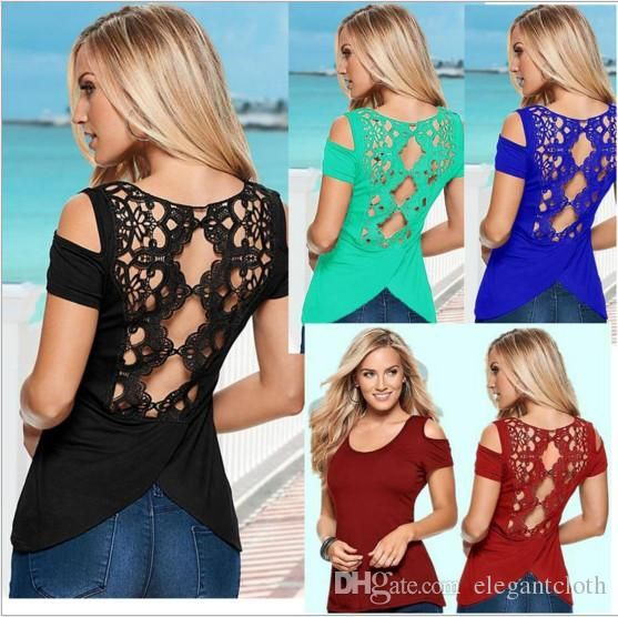 02771741913f 2017 Women'S Sexy Halter Short Sleeved T Shirt Lace Blouse Strapless ...