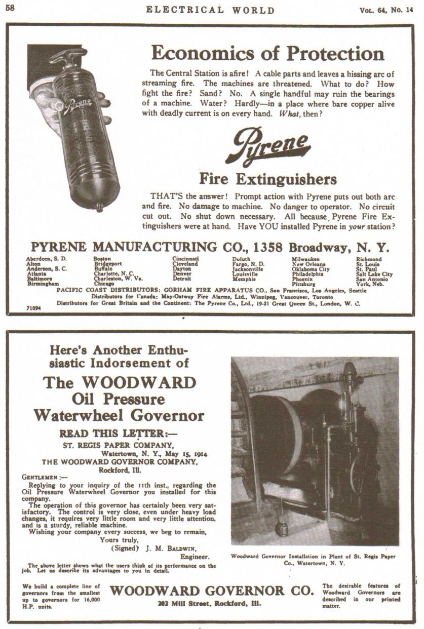 A 1914 Woodward Gate Shaft Type Hydraulic Relay Valve Turbine Water Dayton Wiring Diagram Alarm Wheel Governor Advertisement From Electrical World