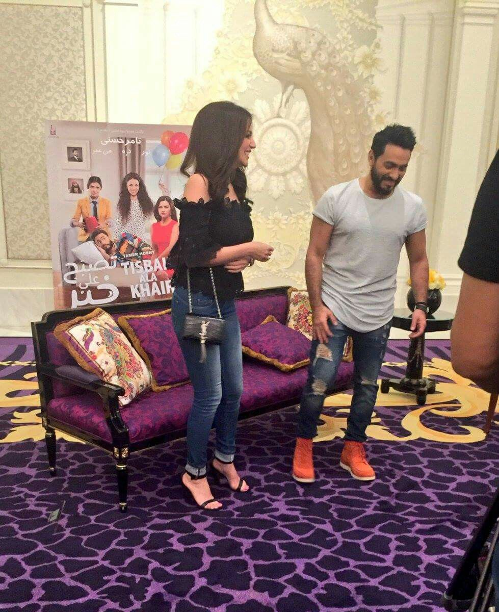 Stars Tamer Hosny And Dorrazarrouk Are In Dubai To Talk All About Their Rom Com Tisbah Ala Khair Releasing In Uae On July 6 East Painting July 6th