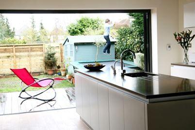 Kitchen Island Kitchen By Doors To Garden Sink On Island