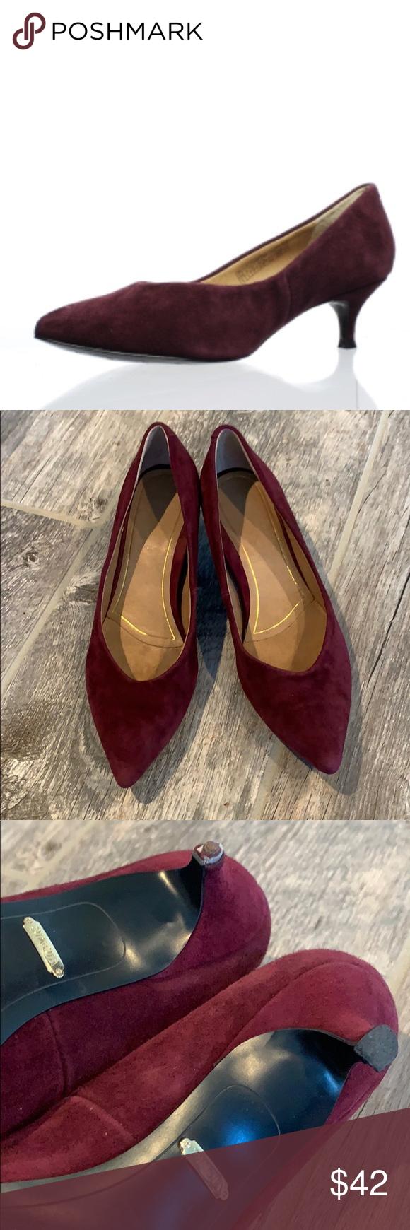 Vionic Plum Josie Leather Suede Kitten Heels Shoes Women Heels Leather Suede Kitten Heels