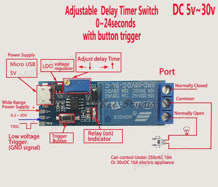 DC 5v 12v 24v Adjustable Trigger Delay Time Switch Timer