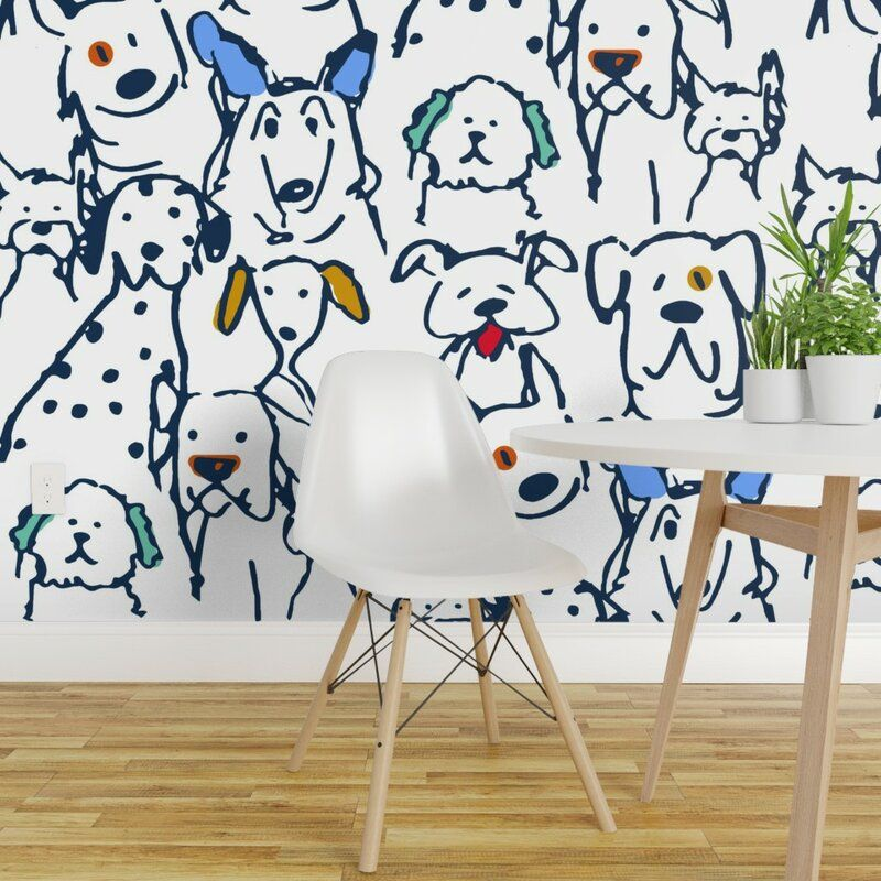 Harriet Bee Fulk Dog Removable Peel And Stick Wallpaper Roll Wayfair Peel And Stick Wallpaper Wallpaper Roll Kids Room Paint