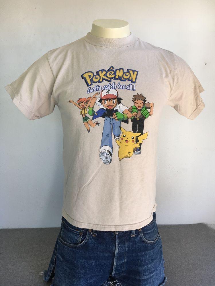 bba85cfb POKEMON Shirt Light Brown VTG 1999 90s Pikachu Official Nintendo Rare L  Cotton #Nintendo #GraphicTee