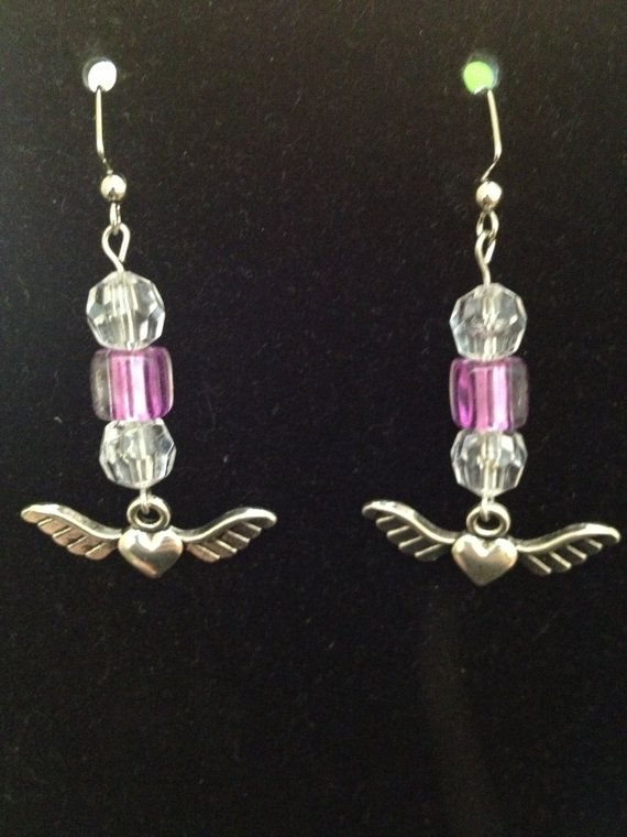 White and Purple Flying Heart Earrings by queenofqeeks on Etsy, $8.00