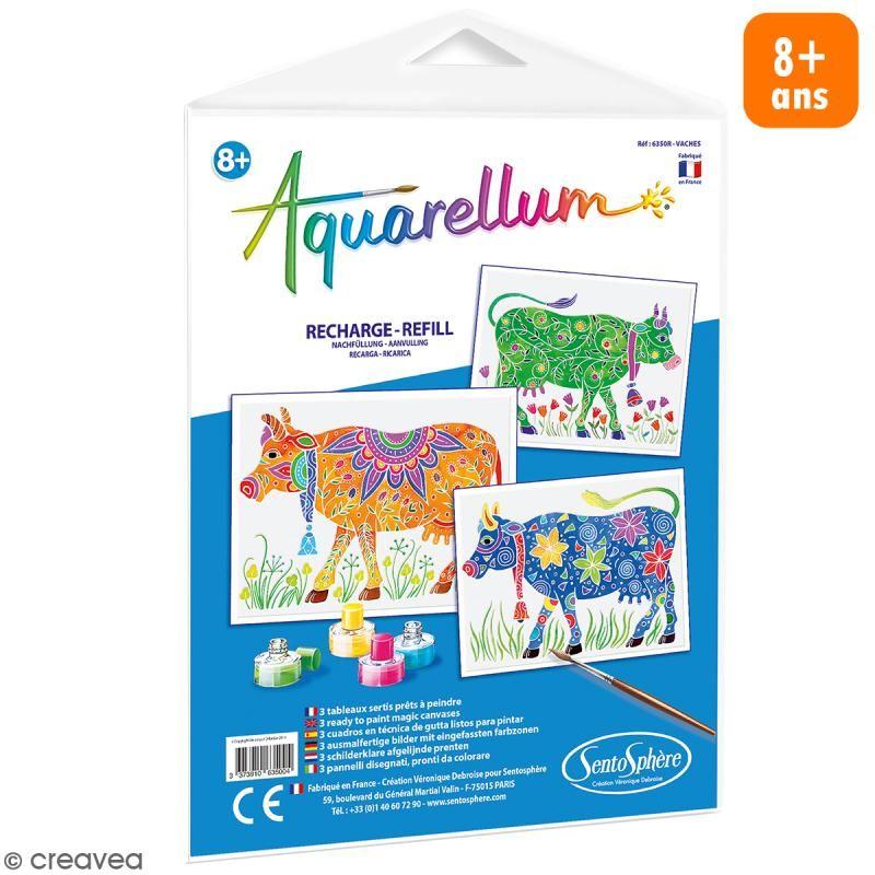 Recarga Cuadro Para Pintar Aquarellum Vacas 3 Dibujos Pintar