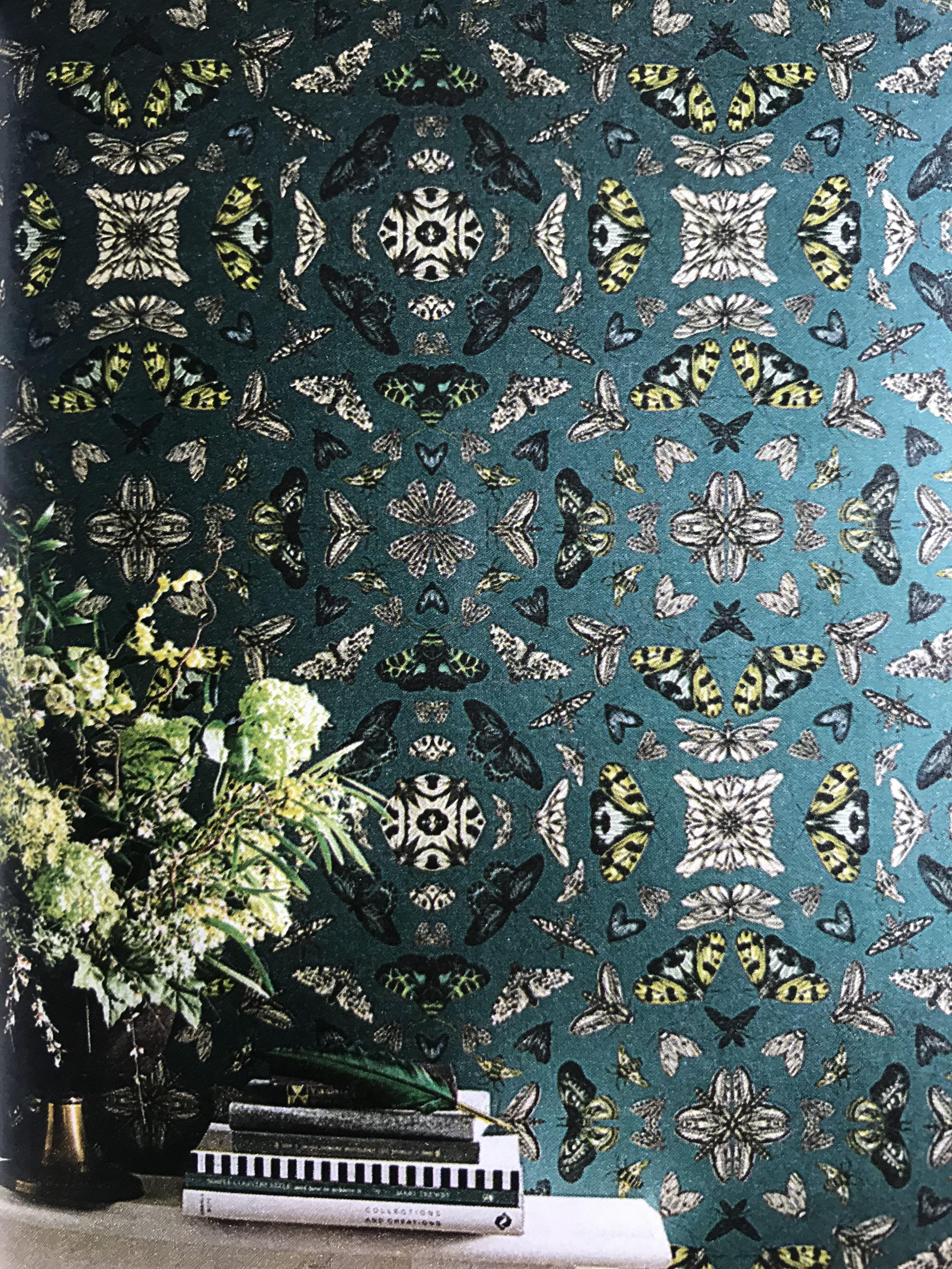 Dark Green Wallpaper With Butterflies Dark Green Wallpaper