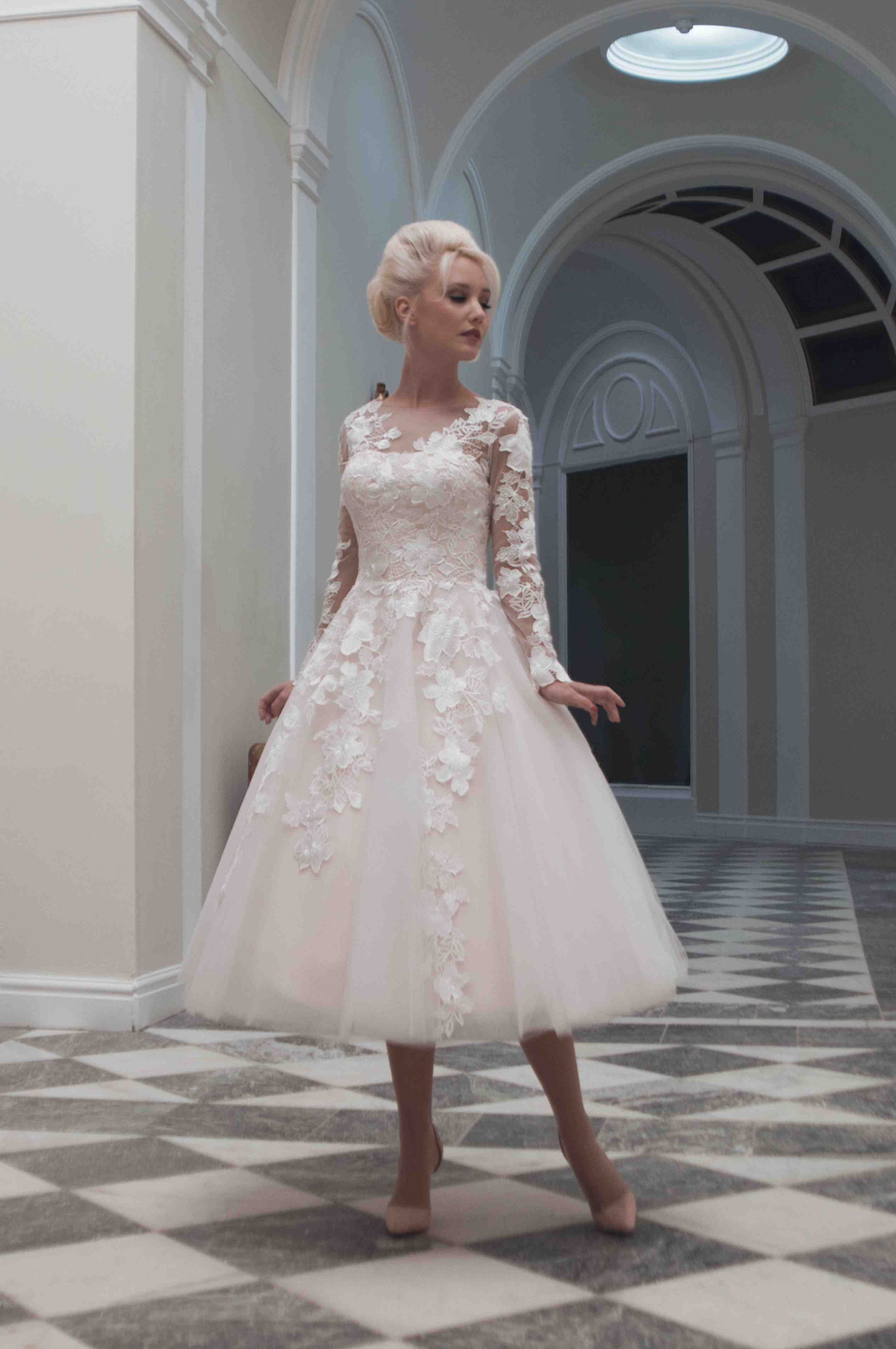 Fairy Tale Meets 1950s Tea Length Gowns Featured In Blush The Lace Cascades Down Dress Onto A Full Tulle Skirt For Princess Feel