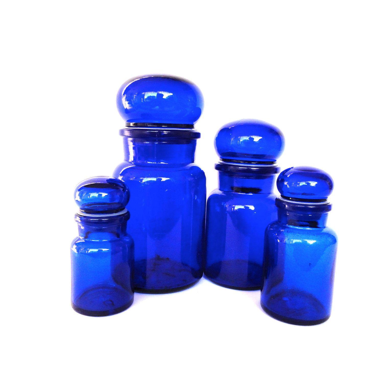 Cobalt Blue Glass Cobalt Blue Glass Jars Glass Canisters Storage Vintage Set Of Four Blue