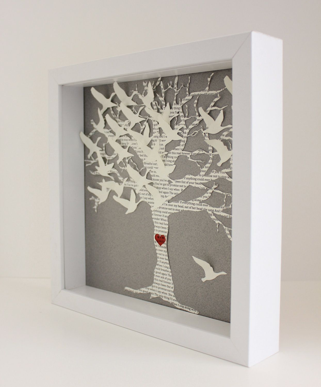 Lyric Wedding Gift Frame, Love Birds Tree Picture Frame