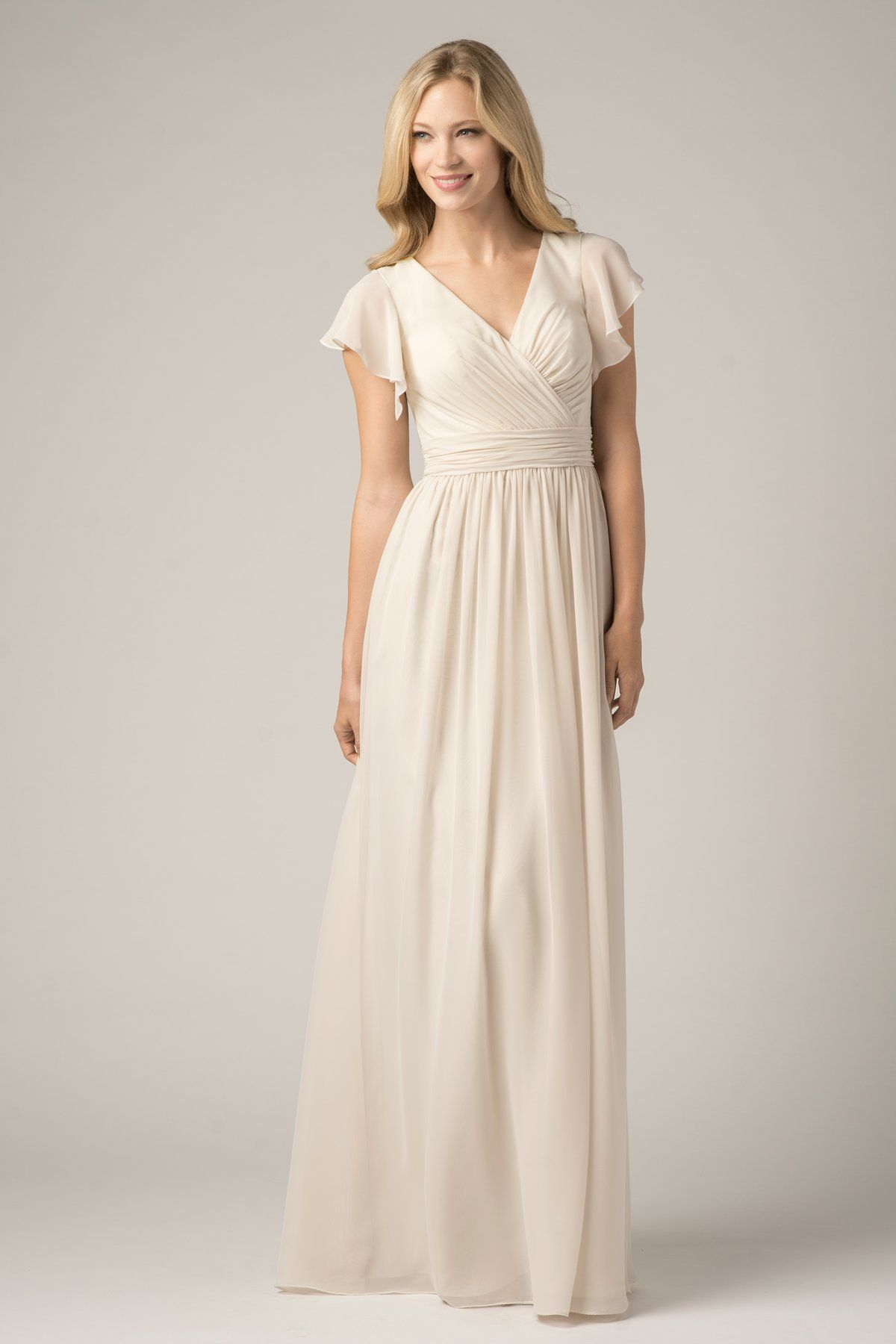 Wishesbridal champagne chiffon v neck floor length a line wtoo 812 elegant crystal chiffon long bridesmaid dress with flutter sleeves v neckline and shirred details on bodice ombrellifo Image collections