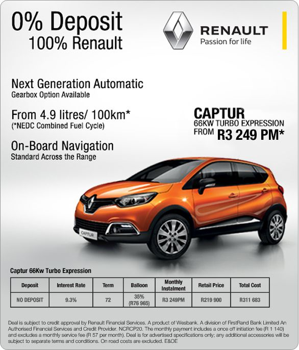 New Renault Captur 66kw Turbo Expression From R3 249pm From 4 9