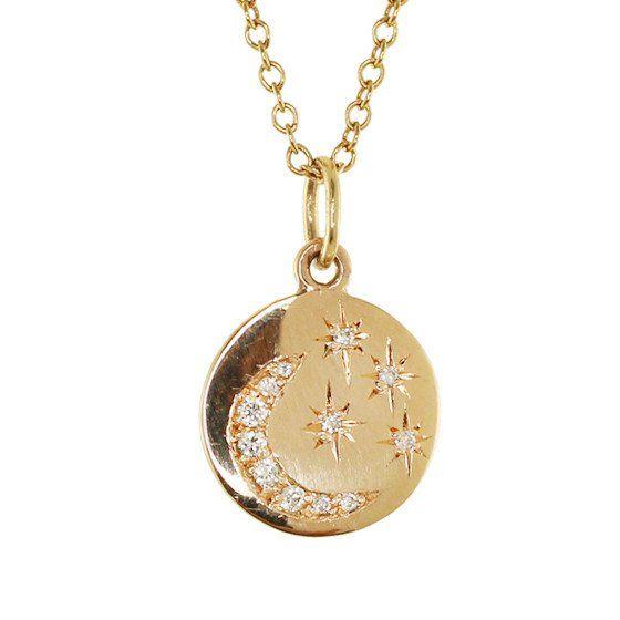 2cc288b066c1d 14kt gold diamond star and moon mini disk necklace – Luna Skye ...