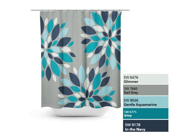 Shower Curtain Floral Flower Burst Bath Curtain Grey Teal Navy