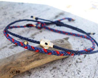 Items similar to Friendship bracelet beaded bracelet- nylon cord with gold glass bead on Etsy
