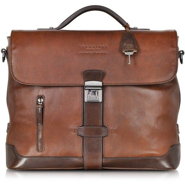 The Bridge by Pininfarina Marrone Leather Briefcase (€1.705) ❤ liked on Polyvore featuring bags and briefcases
