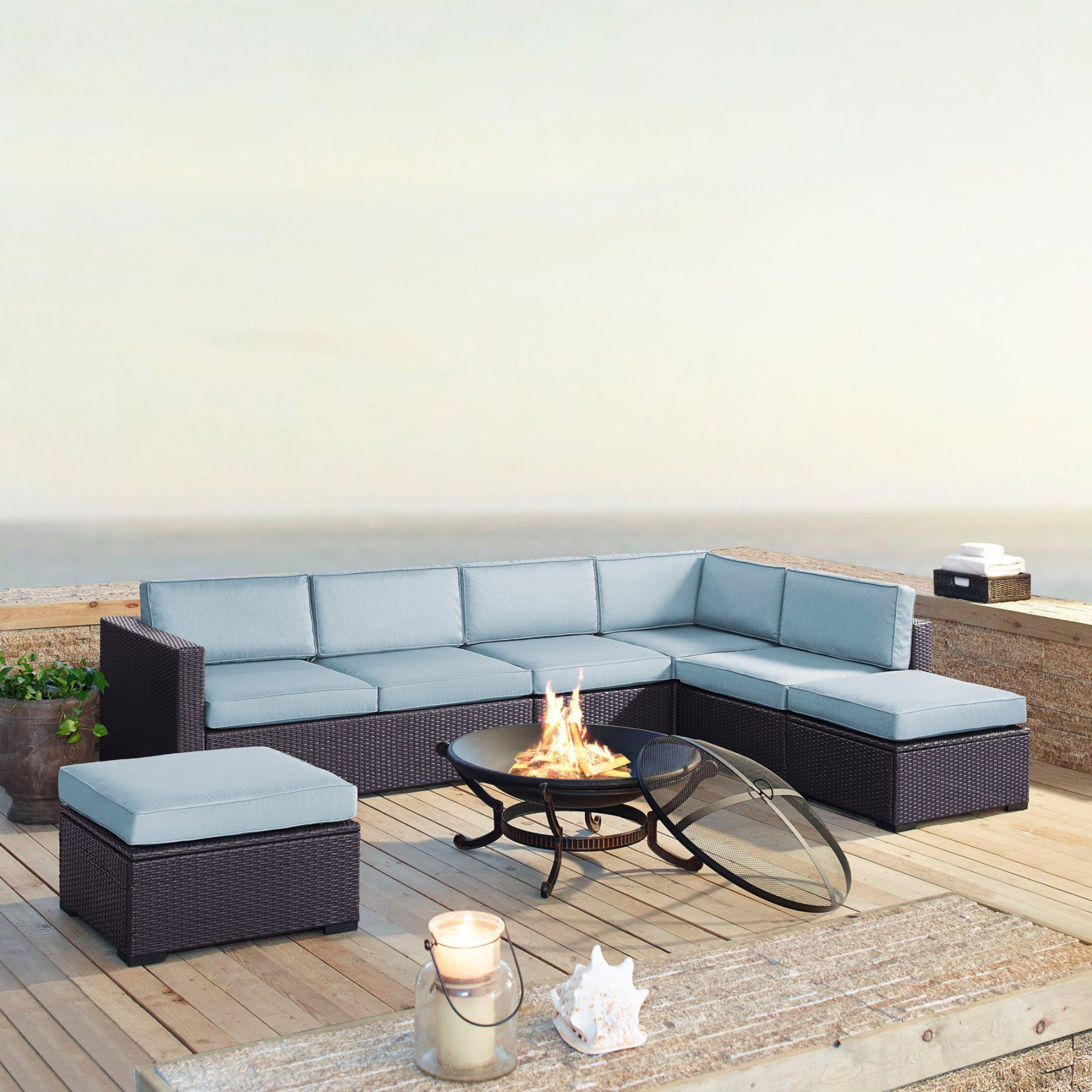 Outdoor crosley furniture biscayne resin wicker piece loveseat