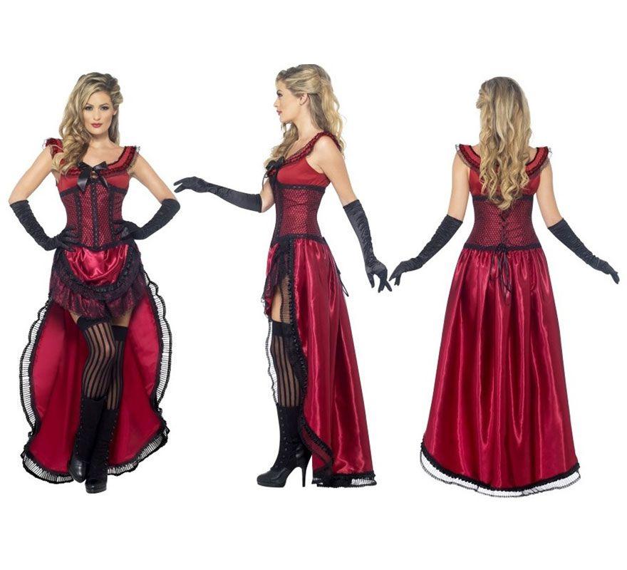 6920ea3a4 Disfraz Chica de Saloon o bar del Oeste color Burdeos para mujer ...