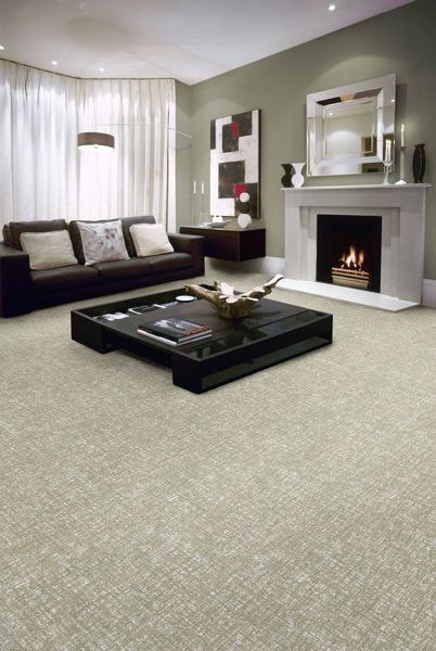 Grey Living Room With Fireplace And Medium Colored Carpet Living