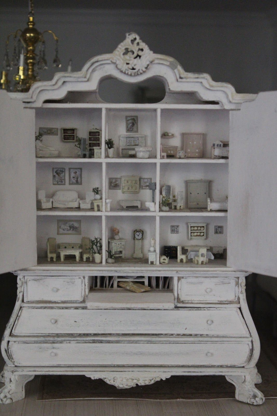 dollhouse made from antique armoire