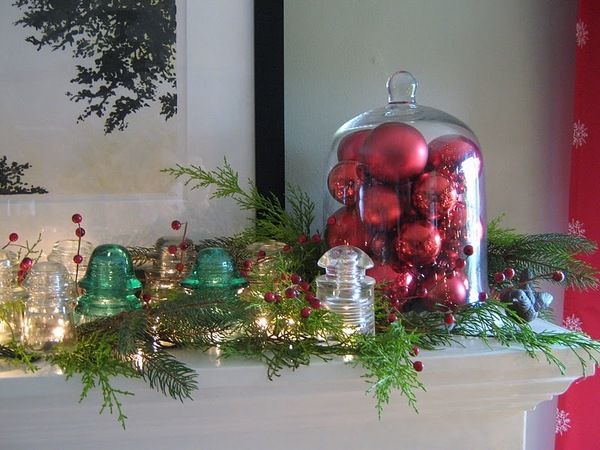 Upcycling Ideas With Gl Insulators Diy Insulator Christmas Mantel Decoration