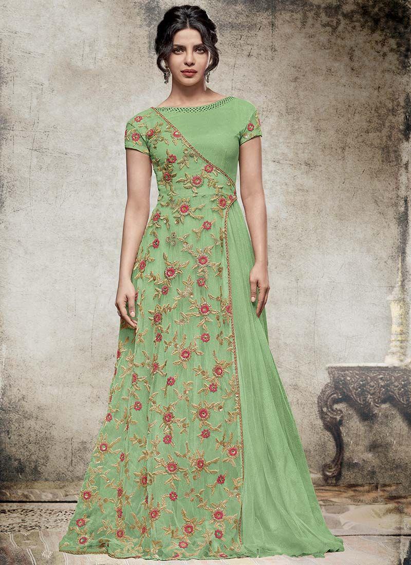 Priyanka chopra green art silk n net anarkali gown wedding outfits