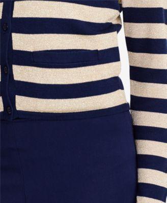Lauren Ralph Lauren Petite Metallic Cardigan - Blue/Gold P/S ...