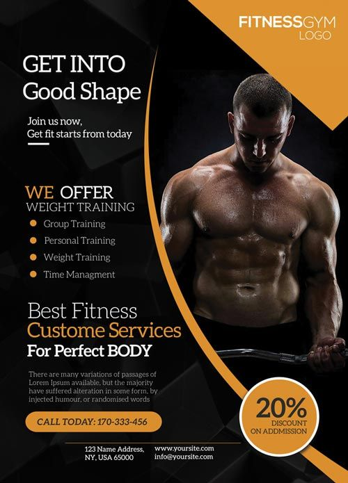 Get Into Shape Fitness Free Flyer Template Free Psd Flyer
